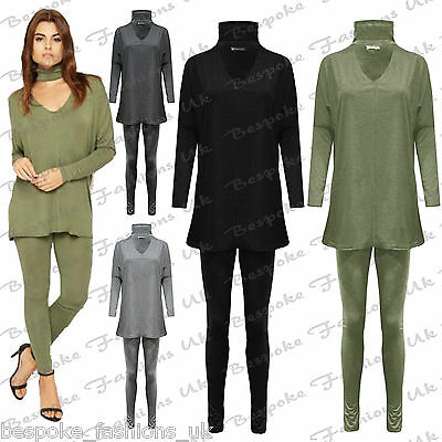 Womens Ladies Choker Cut Out Batwing Loungewear Lounge Jogging Set Tracksuit UK