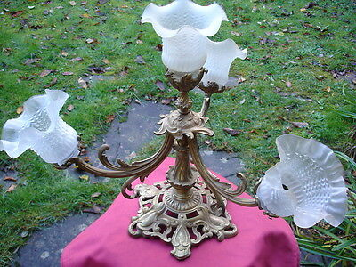 ANCIEN LUSTRE en BRONZE ART NOUVEAU  4 LUMIERES / TULIPES