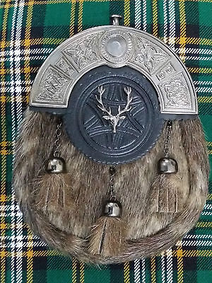 New Scottish Full Dress Kilt Sporran Seal Skin Celtic Cantle Stag Head Antique