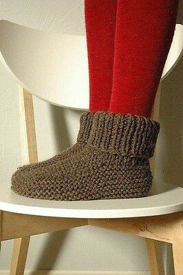 Ecological Hand Knitted Handmade House Slippers Socks Wool Size US 10-12