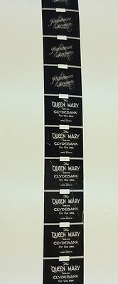 """1936  PATHESCOPE 9.5mm NEWS FILM REEL.""""QUEEN MARY LEAVES CLYDEBANK FOR THE  SEA"""""""