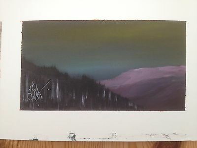 `Dawn Across Plynlimon` c 1980 Original Signed Painting in a Mixed Medium