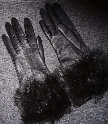 PAIR LADIES BLACK REAL SOFT LEATHER WITH FAUX FUR GLOVES ~ SIZE 7 ~ by DENTS