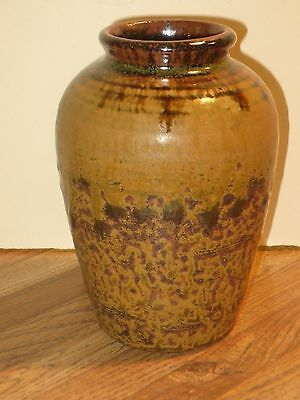 Pewabic Detroit Pottery Vase With Mossy Green-Brown Glaze Marked, Exc. Cond.