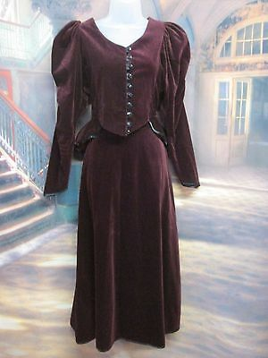 vintage 80'S SIZE 10 CORD STEAMPUNK EDWARDIAN SKIRT SUIT BY CAROLINE HARRIS R14