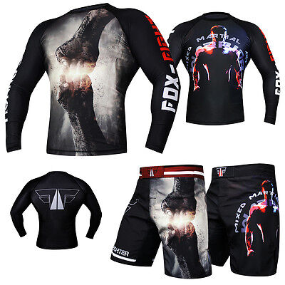 FOX-FIGHT MMA Rashguard Short Kickboxen Muay Thai UFC Kompression BJJ Fitness