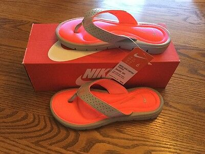 2793c9f1ce63 Nike 354925-005 Women s Comfort Thong Flip-Flops Sandals Wolf Grey   Hot  Punch