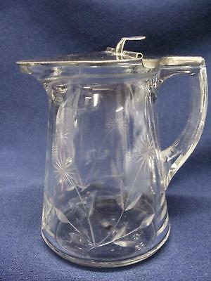 Crystal Syrup Pitcher  Floral Etched  With Metal Drip Cut Lid