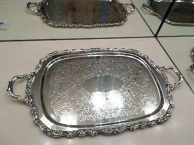 Oneida Silverplated Countess Oblong Tray With Handles - 25 Inches To Handles Euc