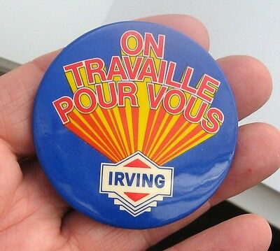 Vintage Pinback Button Irving Oil Company Gas Tin Can IN QUEBEC