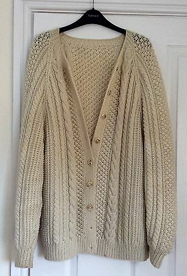 Oversized Vintage Chic Aran Chunky Knit Cardigan One Size