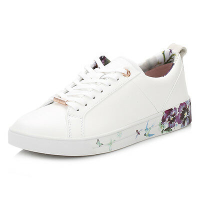 Ted Baker Womens White Barrica Trainers, Floral Sport Casual Leather Shoes