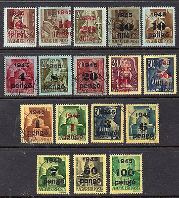 Hungary: Very Nice Selection of 17-1945 Used Surcharged on 1943-45 Stamp Issues