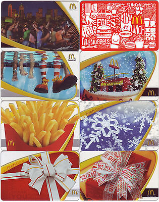 8 McDonald's Items collectors ARCH card GIFT CARD from USA (no cash value)