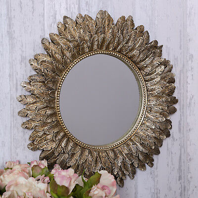 Gold Leaf Wall Mirror Art Deco Style Chic French Feather Vintage Lounge Decor