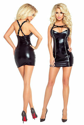 Wetlook - vestito PR4872 Donna Vestitino Reissverschlusen nero Provocative