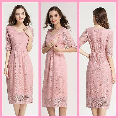New Pink Lace Maternity Breastfeeding Nursing Dress Size 8 10 12 14 S M Wedding