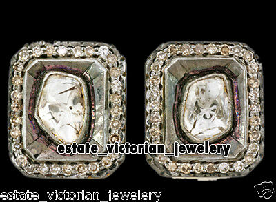 Estate Victorian 1.46cts Rose Antique Cut Diamond Jewelry Silver Studs Earring