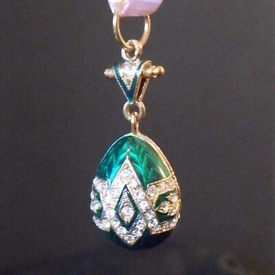 Russian Faberge Egg Pendant Gold Plated Green Enamel White Sparkling Crystals