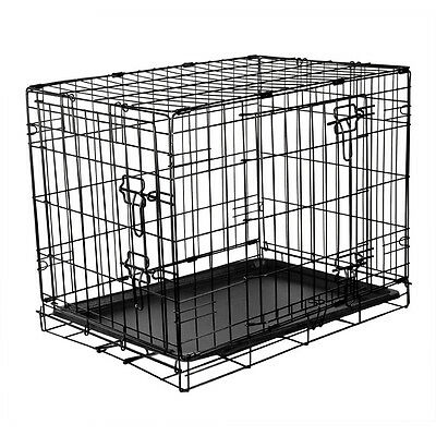 "Small Medium Large Folding Dog Puppy Cage Training Crate Rac 24""30""36"""