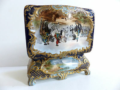 """LARGE & SUPERB FRENCH SEVRES HAND PAINTED PORCELAIN BOX 8 1/4 """" 21 cm"""
