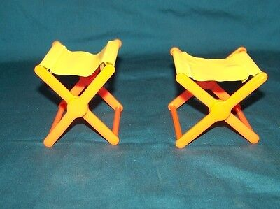 1970 Mattel Barbie Country Camper 2 Yellow Orange Fold Up Chairs