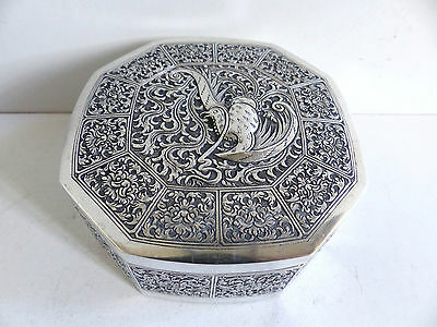 SUPERB ANTIQUE CHINESE ASIAN STERLING SILVER BOX with BIRD 198 g ; 7 oz