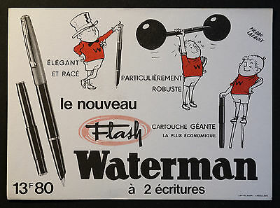 BUVARD PUBLICITAIRE ANCIEN : STYLO FLASH WATERMAN - Illustration PIERRE LACROIX