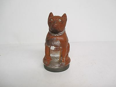Vintage Glass Bulldog Candy Container Original Paint