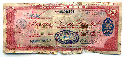 1962 Barclays Bank Traveller's Cheque
