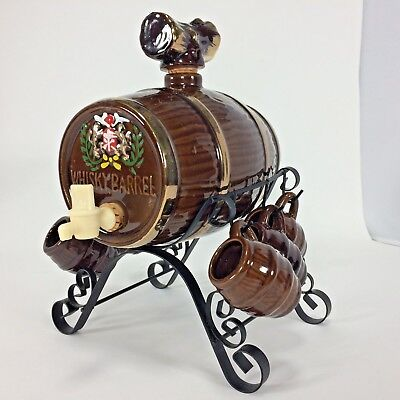 Whiskey Barrel Decanter with Wrought Stand 6 Shot Glasses Vintage EDS Japan
