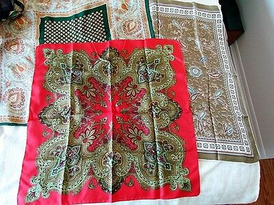 Silk Scarf Lot Paisley Abstract Liberty of London Red Green Vintage Collectible