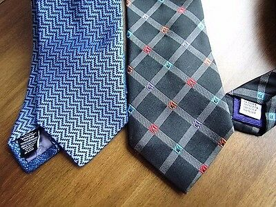 Silk Tie Ted Baker Geometric Abstract Bugatchi Woven Blue Black Grey Lot Italy