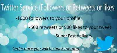 Social media marketing 1000 followers or 500 Retweets or likes Fast delivery
