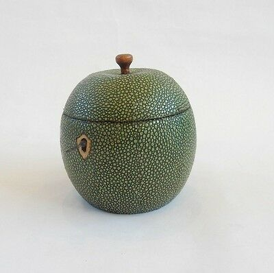 Shagreen Tea Caddy Canister in Shape of Apple with Lock & Key