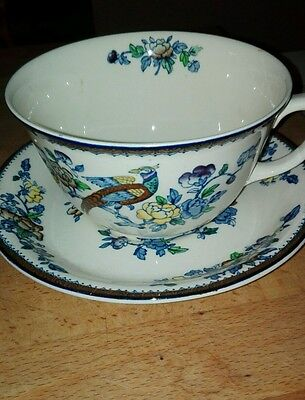 Large Vintage Woods Ware 'mayfair' Cup And Saucer 1917