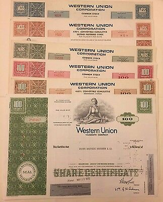 Set of 6 Different Western Union Telegraph Company Stock Certificates Rare Types