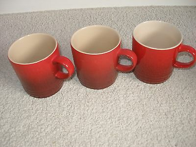 Le Creuset Red Mugs x 3