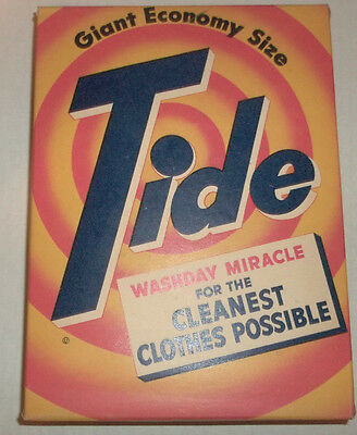 OLD ADVERTISING TIDE SOAP BOX w CONTENTS 1950s Giant Economy Size SCARCE UNUSUAL