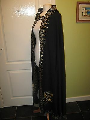 Fancy Dress Unisex Free Size Full Length Hooded Black Cape + Gold Embroidery