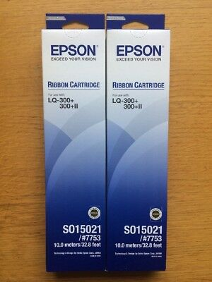 2 x Genuine Epson S015021 #7753 Ribbon Cartridge C13S015021 OEM 15021