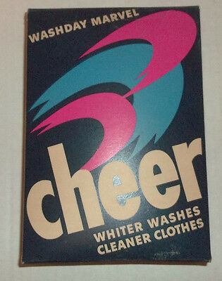 VINTAGE ADVERTISING CHEER SOAP BOX w CONTENTS 1950s Large Size Washday Marvel