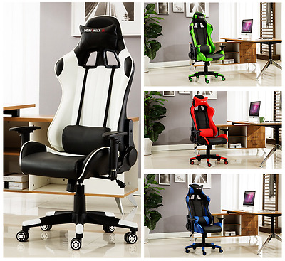Office Chair Executive Recliner Racing Adjustable Gaming Support Fx Leather