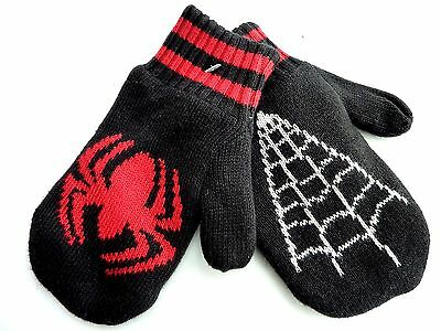 Baby GAP Boy BLACK SPIDERMAN Knitted Fleece Lined Mittens Gloves 12m-5y £9.95