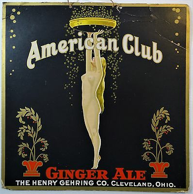 NUDE Advertising SIGN American Club Ginger Ale Gehring Cleveland OH 1930 Art Dec