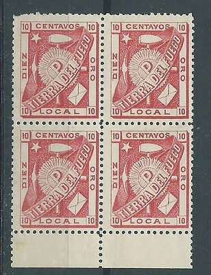 Chile Tierra Del Fuego Block 4 One Stamp Damaged See Both Scans