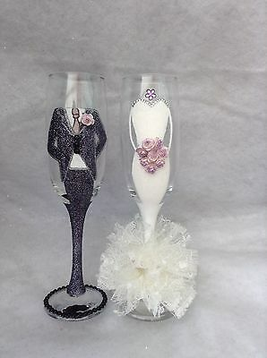 Mr & Mrs gorgeous bride and groom wedding champagne flutes