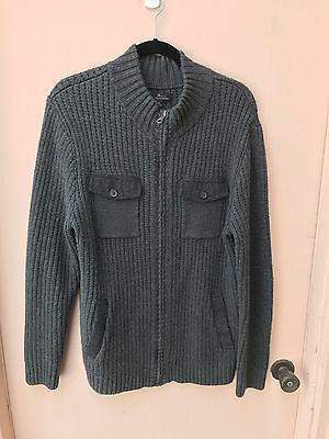Marc Anthony Men's Cotton Blend Long Sleeve Full Zip Dark Gray Sweater - Large