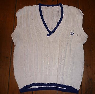 Fred Perry - Tank Top - Cable Knit -  Size Medium - Vintage - Made In England