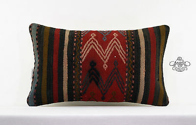 Vintage Kilim Pillowcase 12x20 Lumbar Turkish Cushion Sham Eclectic Decor Pillow